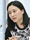 意見を述べる三浦瑠麗委員=12日、東京・東新橋の共同通信社