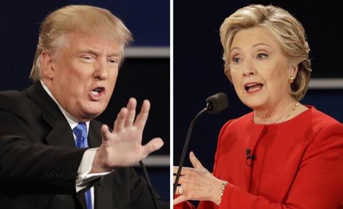 9月、米大統領候補の討論会で主張をぶつけ合う共和党のトランプ氏(左)と民主党のクリントン氏=ヘンプステッド(AP=共同)
