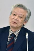 意見を述べる後藤正治委員=10日、東京・東新橋の共同通信社