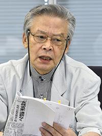 意見を述べる後藤正治委員=8日、東京・東新橋の共同通信社